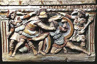 Etruscan tomb relief, Eteocles and